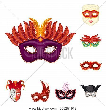 Vector design of carnival and theatrical icon. Collection of carnival and mystery vector icon for stock. poster