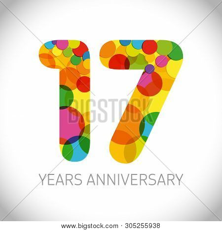 17 Th Anniversary Numbers. 17 Years Old Multicolored Logotype. Age Congrats, Congratulation Art Idea