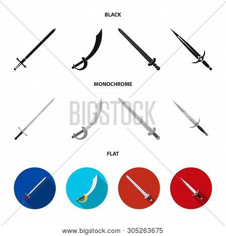 Isolated Object Of Sword And Blade Logo. Set Of Sword And Game  Stock Vector Illustration.