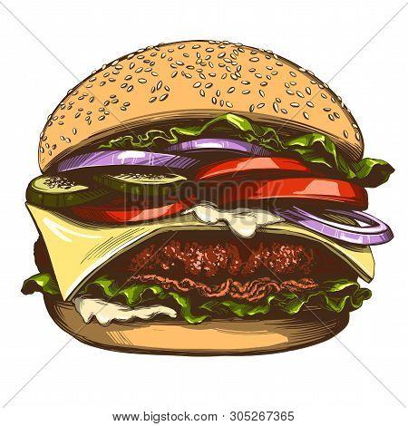 Big Burger, Hamburger Hand Drawn Vector Illustration Realistic Sketch Color