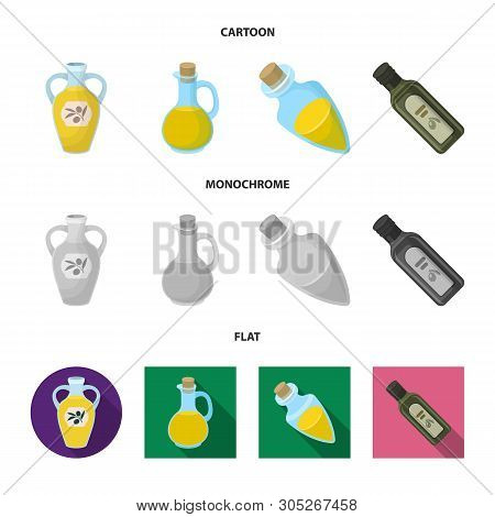 Vector Illustration Of Food  And Bung Symbol. Set Of Food  And Oil  Vector Icon For Stock.