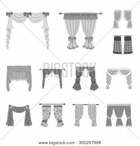 Vector illustration of interior and cornice logo. Collection of interior and drapes stock symbol for web. poster