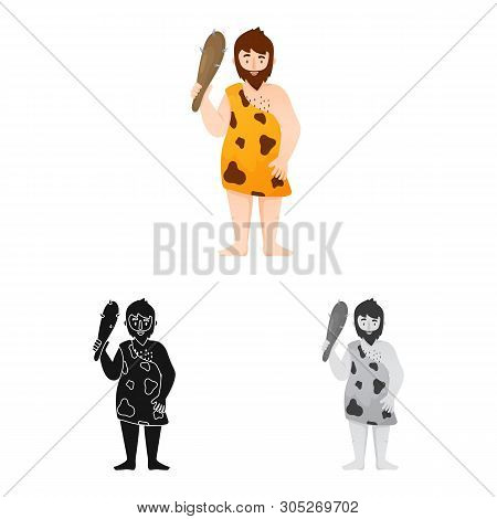 Isolated Object Of Neanderthal And Man Symbol. Collection Of Neanderthal And Prehistoric Vector Icon