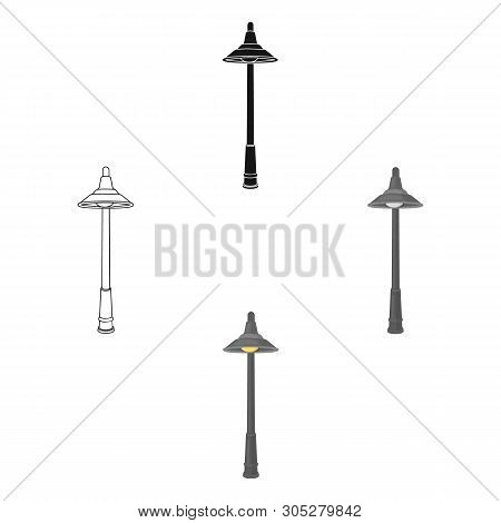 Lamppost With A Conic Bubble.lamppost Single Icon In Cartoon, Black Style Vector Symbol Stock Illust