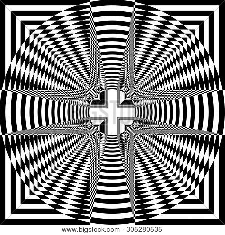 Arabesque Target Tridimensional Cross Like Tunnel Inception Abstract Cut Art Deco Illustration On Tr
