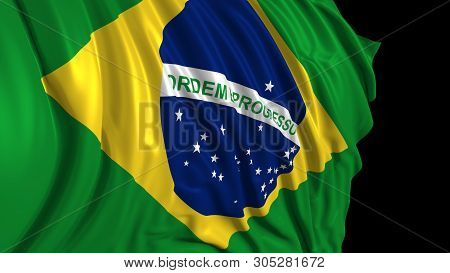 3d Rendering Of A Brazilian Flag. The Flag Develops Smoothly In The Wind. Wind Waves Spread Over The