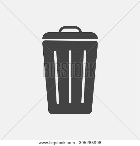 Container Recycling Of Garbage Sign Isolated. Flat Icon Bin On Gray Background. Flat Image Trash Can