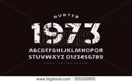 Stencil-plate Sans Serif Font In Classic Style. Bold Face. Letters And Numbers With Vintage Texture