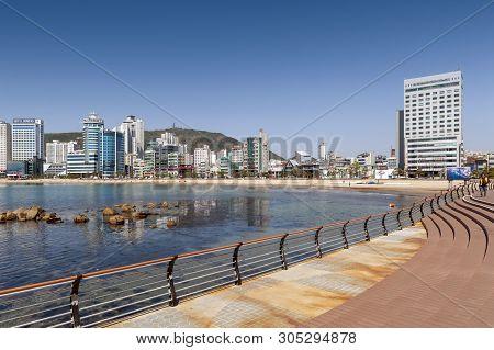 Busan, South Korea - April 2019: Beachfront Promenade Along Gwangalli Beach, A Popular Tourist Desti