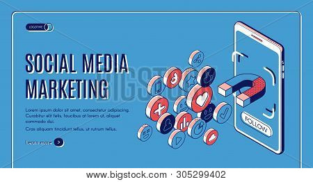 Social Media Marketing Isometric Web Banner. Influencer Concept With Magnet Attracting Likes, Feedba