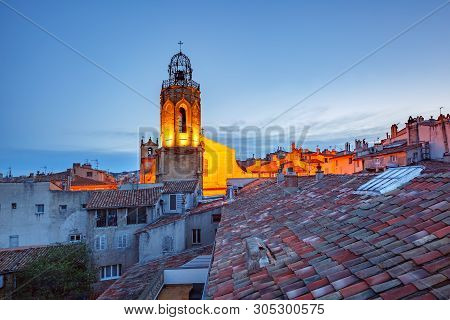 Belltower Of Church Of The Holy Ghost In Aix-en-provence During Morning Blue Hour, Provence, France