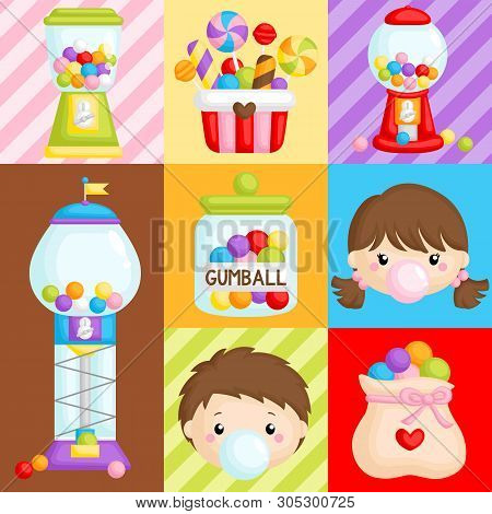 A Vector Composition  Of Cute Various Bubblegum Machine And Kids