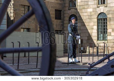 Stockholm, Sweden - June 2016: The Royal Guardsman On Guard At The Swedish Royal Palace. Royal Guard