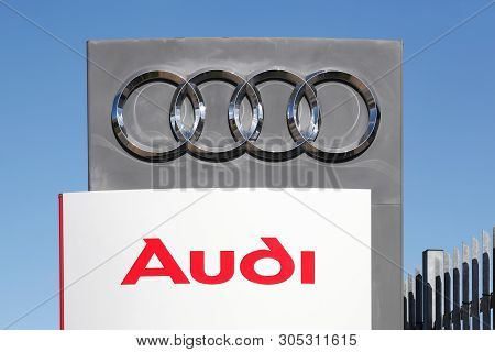 Risskov, Denmark - May 11, 2019:  Audi Logo On A Wall. Audi Is A German Automobile Manufacturer That
