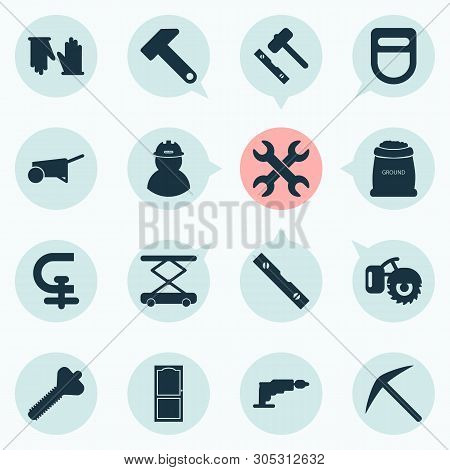 Industrial Icons Set With Set Of Keys, Welding Helmet, Hammer And Other Drill Elements. Isolated Vec