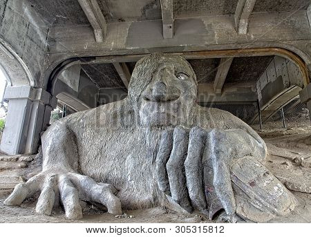 Seattle, Washington - May 20, 2017: The Troll Was Sculpted By Four Local Artists: Steve Badanes, Wil
