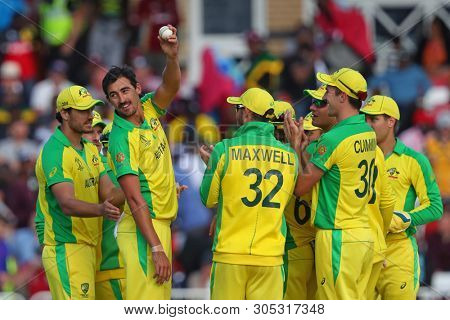 NOTTINGHAM, ENGLAND. 06 JUNE 2019: Mitchell Starc of Australia shows the ball too the crowd after taking five wickets during the Australia against West Indies, ICC Cricket World Cup match