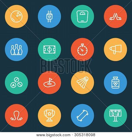 Lifestyle Icons Line Style Set With Jumping Rope, Hockey, Drugs And Other Pill Elements. Isolated  I
