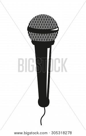 Microphone Icon On The White Background. Vector Illustration.