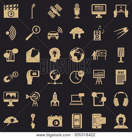 Bearer Media Icons Set. Simple Set Of 36 Bearer Media Vector Icons For Web For Any Design
