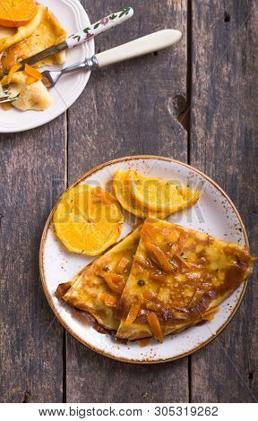 Crepe Suzette Or French Crepe Or Crepe With Fruit
