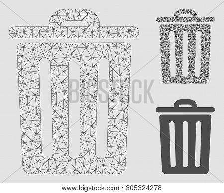 Mesh Dustbin Model With Triangle Mosaic Icon. Wire Carcass Polygonal Network Of Dustbin. Vector Mosa