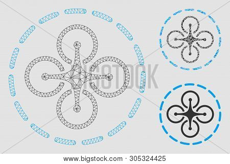 Mesh Drone Flight Model With Triangle Mosaic Icon. Wire Frame Polygonal Mesh Of Drone Flight. Vector