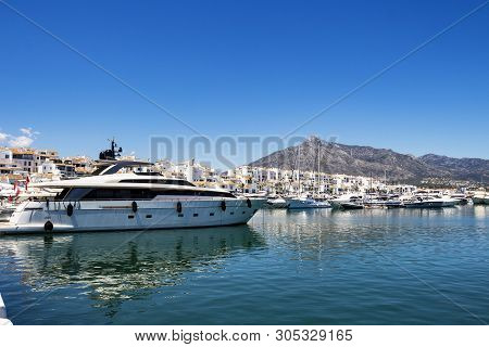 Luxury Yachts At Puerto Banus, Nueva Andalucia, Marbella, Province Of Malaga, Andalusia Spain