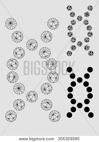 Mesh Dna Helix Model With Triangle Mosaic Icon. Wire Frame Polygonal Mesh Of Dna Helix. Vector Mosai