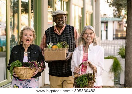 Happy Seniors Returning With Groceries From Farmers Market