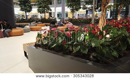 Istanbul, Turkey - April 19, 2019: Round View Of Relaxing In Waiting Room Of Istanbul Airport. The I