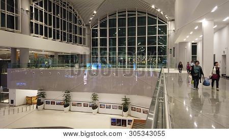 Istanbul, Turkey - April 19, 2019: Lobby With Escalator Of New Istanbul International Airport, Istan