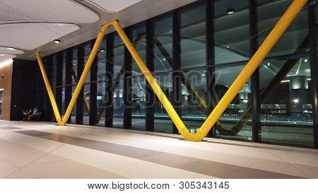 Istanbul, Turkey - May 7, 2019: Windows Of Transfer Corridor Of Istanbul International Airport, Ista