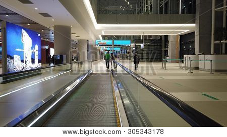 Istanbul, Turkey - May 7, 2019: Travelators For Quicker Transfer In Istanbul International Airport,