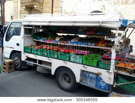 Nadur, Gozo, Malta - Circa June 2019 - Mobile Green Grocer Makes Its  Weekly Visit To The Open Marke