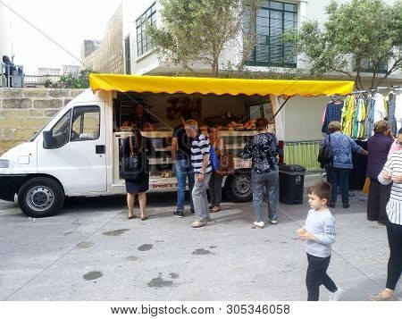 Nadur, Gozo, Malta - Circa 2019 - Mobile Bake Shop Makes Its Weekly Visit  To The Wednesday Markets