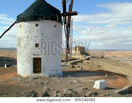 Consuegra, Spain - Circa 2008 - One Of The Famed Windmills Attributed To The Imaginary  Tale Of Don