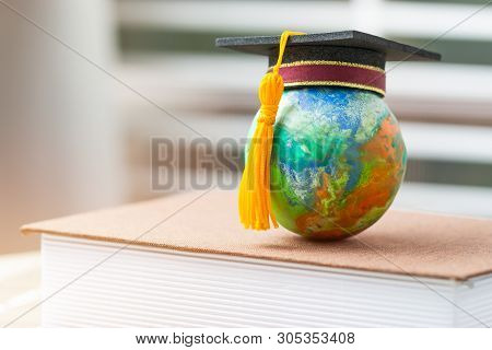 Education To Learn Study In World. Graduated Student Studying Abroad International Idea. Master Degr