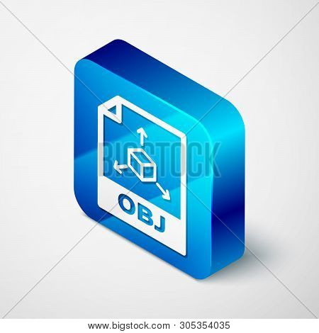 Isometric Obj File Document Icon. Download Obj Button Icon Isolated On White Background. Obj File Sy