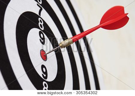 Dart Hit Target Close-up. Well-aimed Hit. Winning The Competition. Success In Business. Achievement