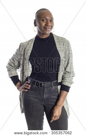 Black African American Woman Looking Confident While Wearing Modern Business Casual Outfit On A Whit