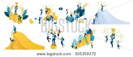 Isometric Set Of Concepts On The Theme Of Success, Winning A Prize, Winning A Victory, Climb Up.