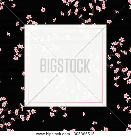 Momo Peach Flower Banner On Black Background. Vector Illustration.