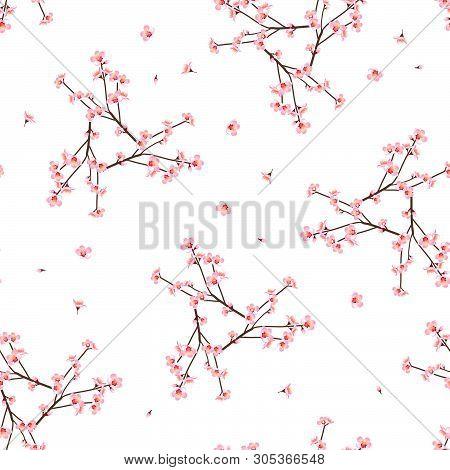 Momo Peach Flower Seamless On White Background. Vector Illustration.