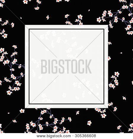 White Momo Peach Flower Banner On Black Background. Vector Illustration.
