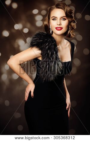 Retro Fashion Model Hairstyle Makeup, Woman Old Fashioned Beauty Portrait, Vintage Black Dress Fur
