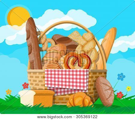 Bread In Wicker Basket. Nature Grass Flowers Cloud And Sun. Whole Grain, Wheat And Rye Bread, Toast,