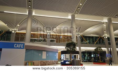 Istanbul, Turkey - April 19, 2019: Waiting Benches Of Istanbul Airport. The Istanbul Yeni Havalimani