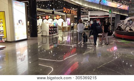 Istanbul, Turkey - April 19, 2019: People Walking And Shopping In The Stores Of Duty Free Area In Ne