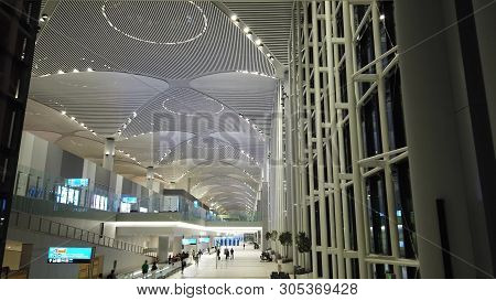 Istanbul, Turkey - May 7, 2019: Transfer Hall Of New Istanbul International Airport, Istanbul Yeni H